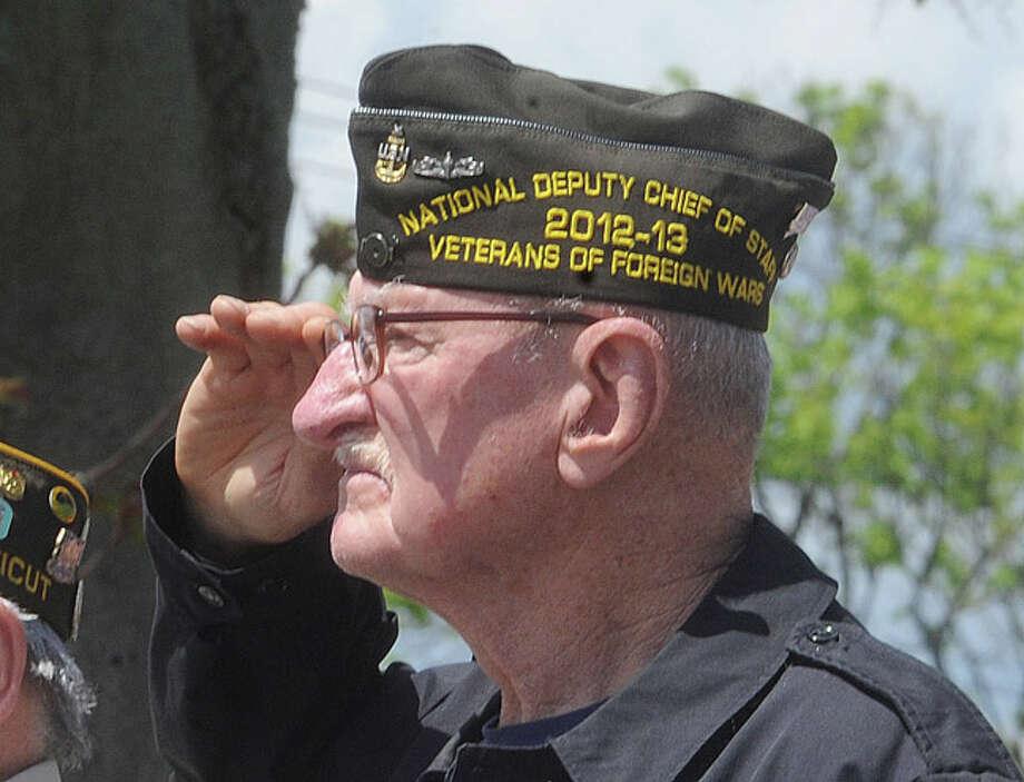 Veteran Don Borrows at the Shea-Magrath Memorial Ceremony Sunday at Calf Pasture Beach in Norwalk. Hour photo/Matthew Vinci