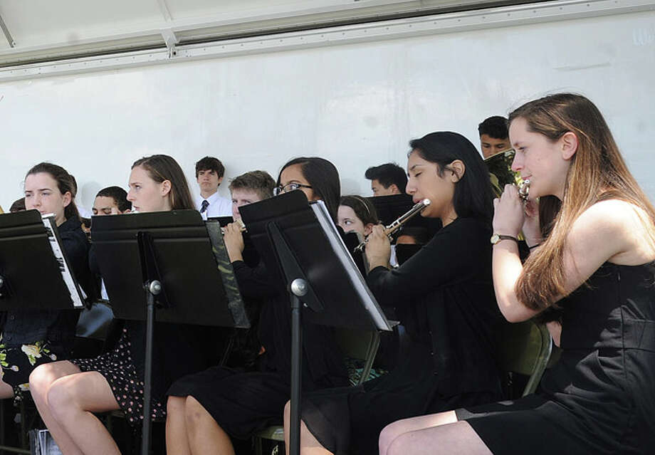 The National Anthem performed by the Norwalk High School woodwind Symphony at the Shea-Magrath Memorial Ceremony Sunday at Calf Pasture Beach. Hour photo/Matthew Vinci