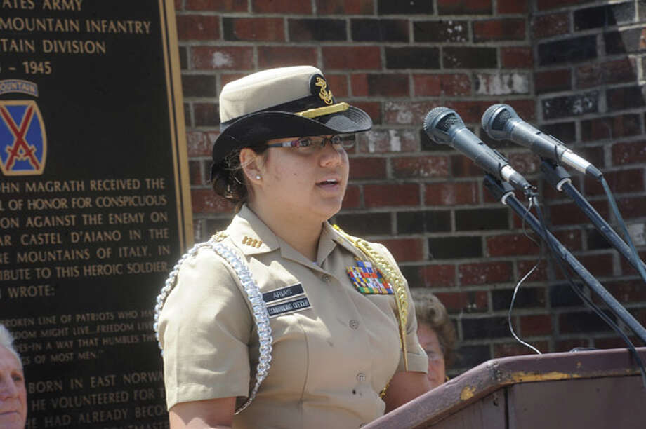 Cadet Johanna Arias, Brien McMahon Navy ROTC makes remarks at the Shea-Magrath Memorial Ceremony Sunday at Calf Pasture Beach. Hour photo/Matthew Vinci