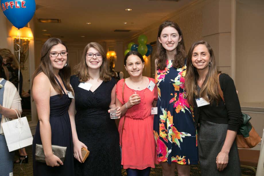 Members of Wilton High School Teen PeaceWorks, from left to right: Kaitlin Zappaterrini, Allison Farago, Nickia Muraskin, Kaitlin McNamara and Lauren Janssen (teacher/advisor for the Teen PeaceWorks group).