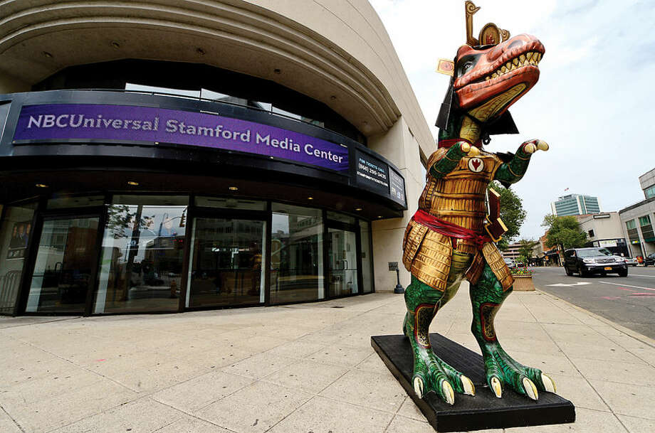 Stamford Downtown hosts its annual outdoor sculpture exhibit, Art in Public Places, featuring Dinosaurs Rule! that consists of 40 originally designed and painted fiberglass dinosaurs including Samuraisaurus created by artist David Macharelli, in front of Stamford Media Center on Atlantic Street.