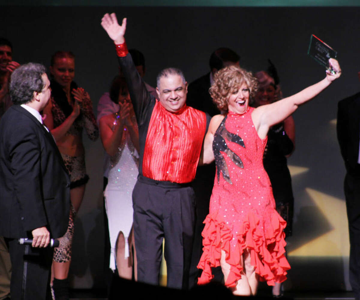 JoAnn Latorraca of Stamford, co-owner of The Waters Edge at Giovanni's, was recognized with the FRIENDRAISER AWARD at Curtain Cal's Dancing With The Stars event on May 17. Latorraca was partnered with Lou Lopez of Latin Moves Dance Studio in Stamford.