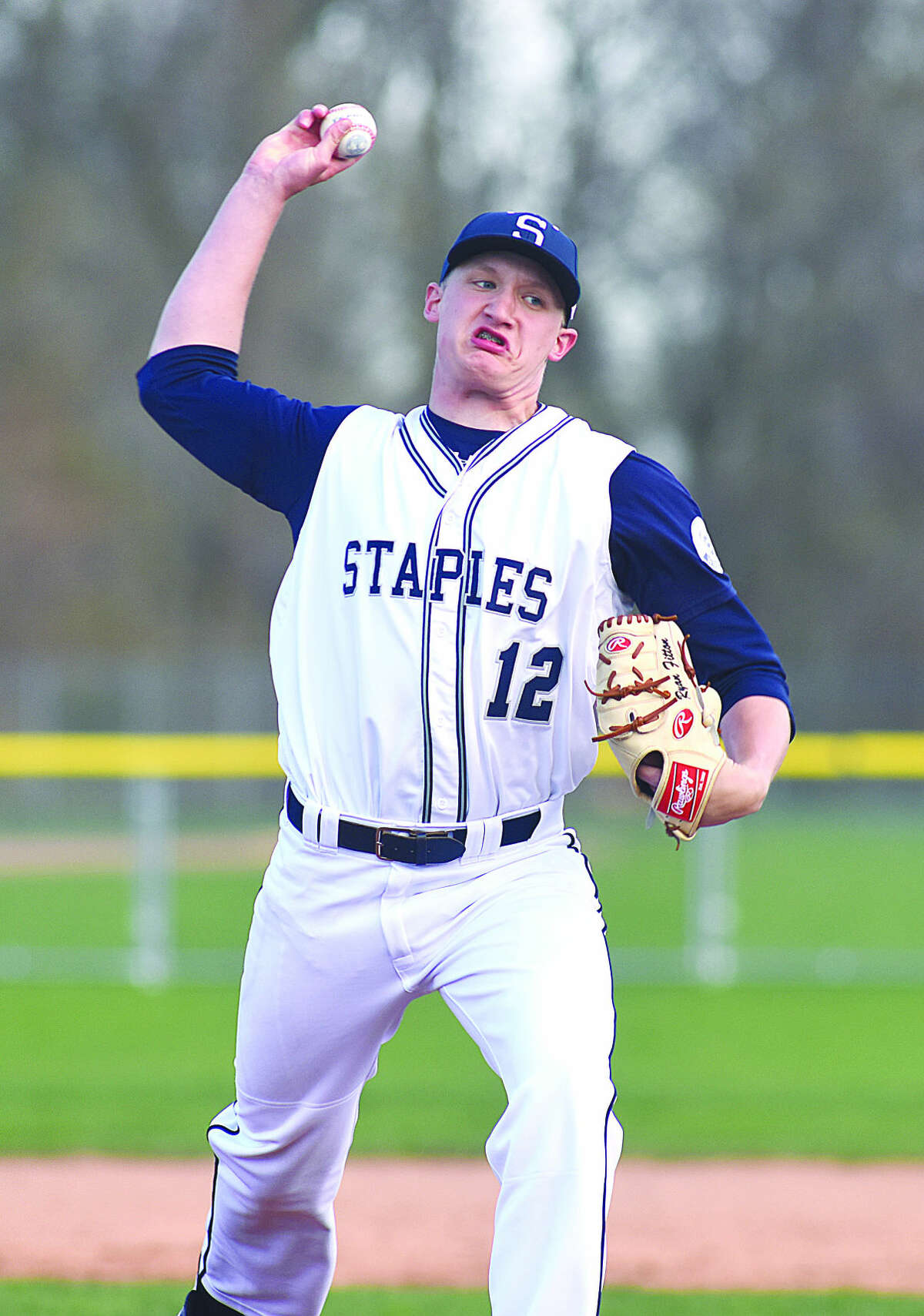 Staples' pitcher Ryan Fitton is 6-2 on the season with seven complete games and threw a no-hitter against Greenwich in just his third varsity game. (Hour photo/John Nash)