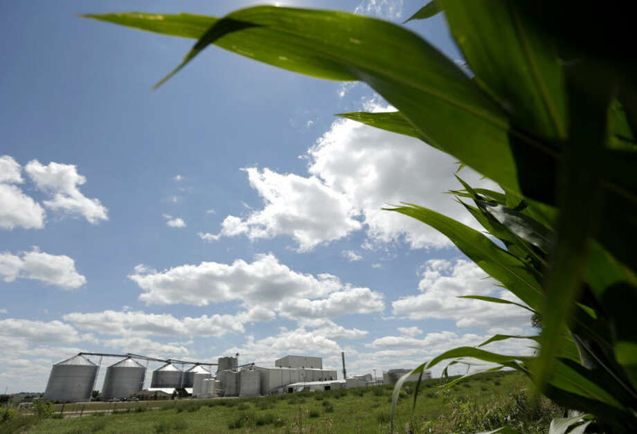 FILE-- In this July 20, 2013, file photo, a plant that produces ethanol is next to a cornfield near Coon Rapids, Iowa. As ethanol producers see some of their most profitable months ever, the federal government is considering whether to lower the amount of the corn-based fuel that must be blended into gasoline. The EPA's decision is expected in June, 2014., (AP Photo/Charlie Riedel, File)