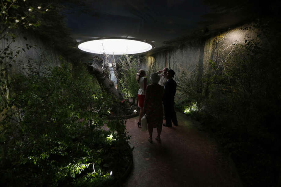 Visitors look at a woodland exhibit 'Beauty Sleeping' at the Chelsea Flower Show in London, Monday, May 19, 2014. The exhibit highlights the urgent call to help save the country's ancient woodland. The Chelsea Flower show is a garden show held annually in May by the Royal Horticultural Society. (AP Photo/Sang Tan)