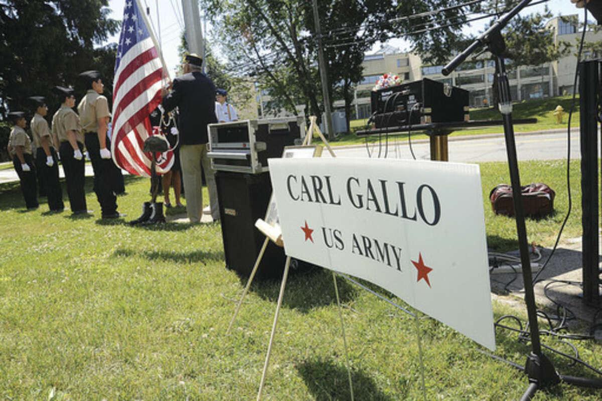 Hour photo/Matthew Vinci Veteran of the Month ceremony in Norwalk Sunday honored Army veteran Carl Peter Gallo.