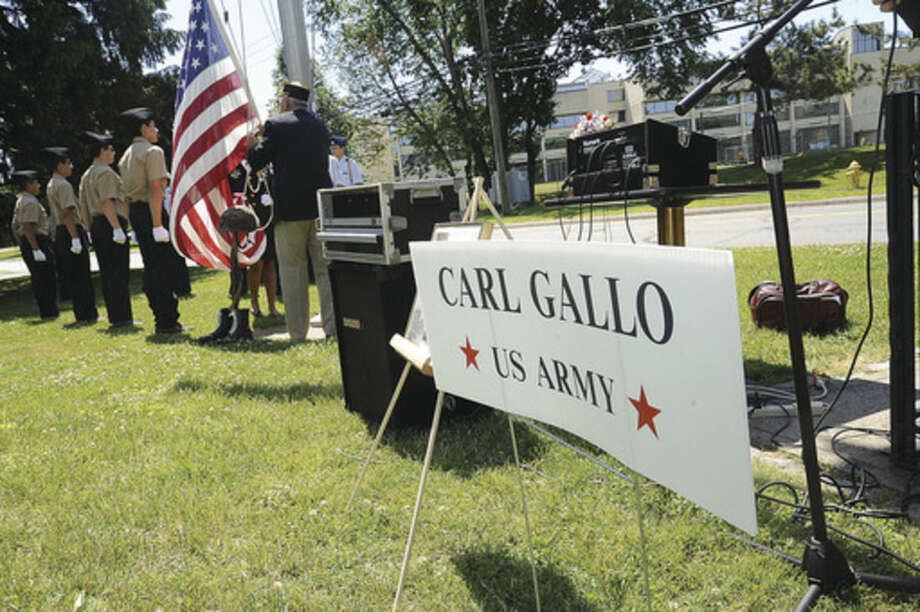 Hour photo/Matthew VinciVeteran of the Month ceremony in Norwalk Sunday honored Army veteran Carl Peter Gallo.
