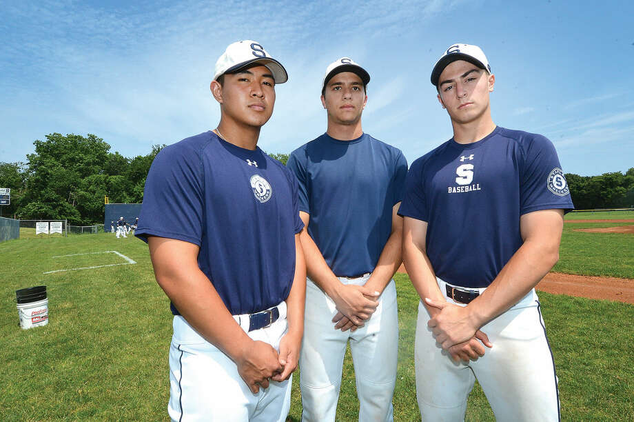 Staples baseball players from left Noah Yokoi, Marco Latella, Zach Azadian and Norwalk's Dave Balunek and Matt Parlanti were teammates on the 2010 12-under Norwalk summer all-star baseball team to go to the Cal Ripken World Series (Hour photo/Alex von Kleydorff)