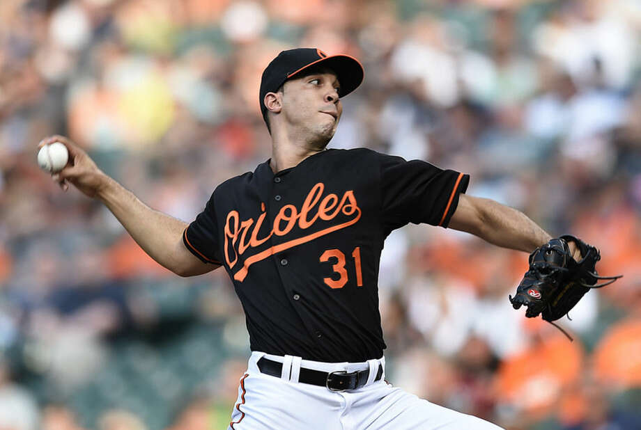 Baltimore Orioles starting pitcher Ubaldo Jimenez delivers against the New York Yankees in the first inning of a baseball game Friday, June 12, 2015, in Baltimore. (AP Photo/Gail Burton)