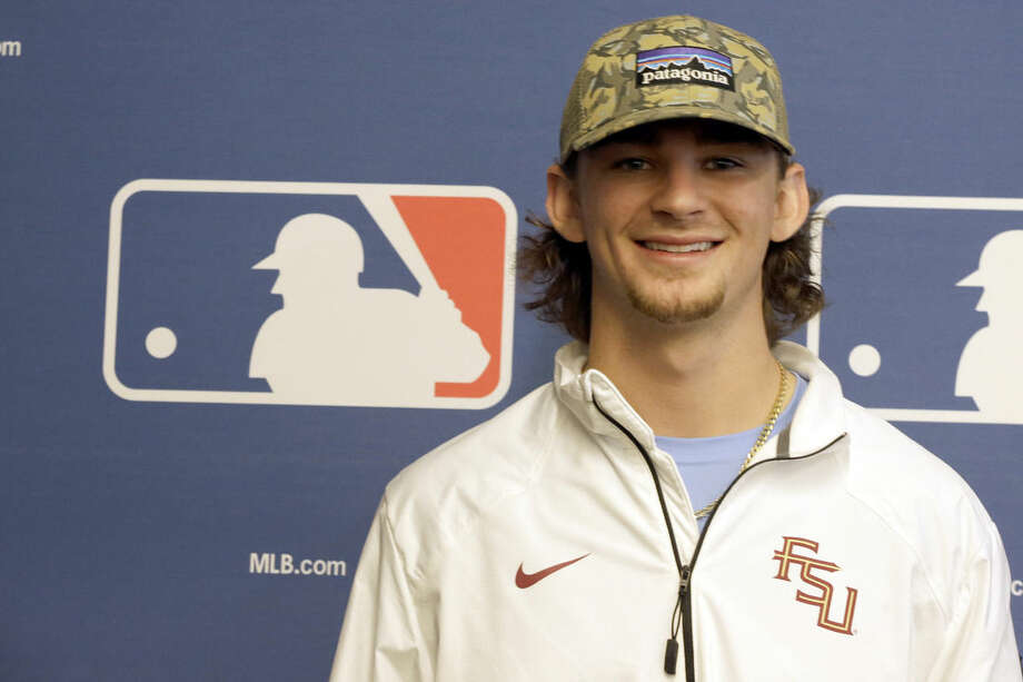 Amateur baseball player Brendan Rodgers poses for a photo after a media luncheon for Major League Baseball's Draft, Monday, June 8, 2015, in New York. (AP Photo/Mary Altaffer)