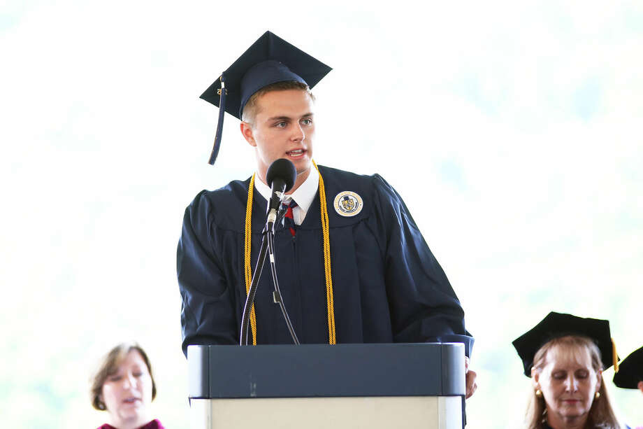 Jackson Marvin, Co-President of Class of 2015, gives the Welcome address during Weston High School's annual commencement ceremony Friday evening. Hour Photo / Danielle Calloway