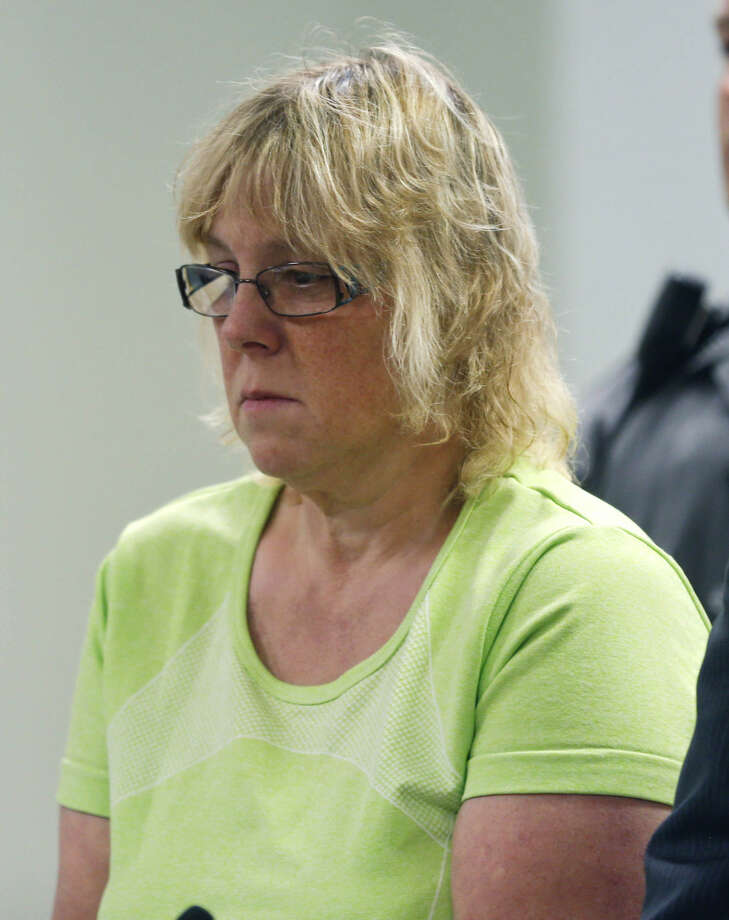 Joyce Mitchell is arraigned in City Court on Friday, June 12, 2015, in Plattsburgh, N.Y. Mitchell is accused of helping two convicted killers escape from Clinton Correctional Facility in Dannemora. (AP Photo/Mike Groll, Pool)