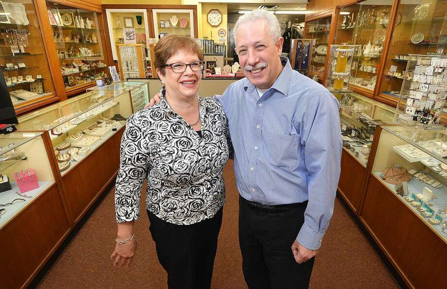 Hour Photo/Alex von Kleydorff Larry and Carol Pellegrini owners of Pellegrini Jewlers, the oldest store on Washington St. in SoNo