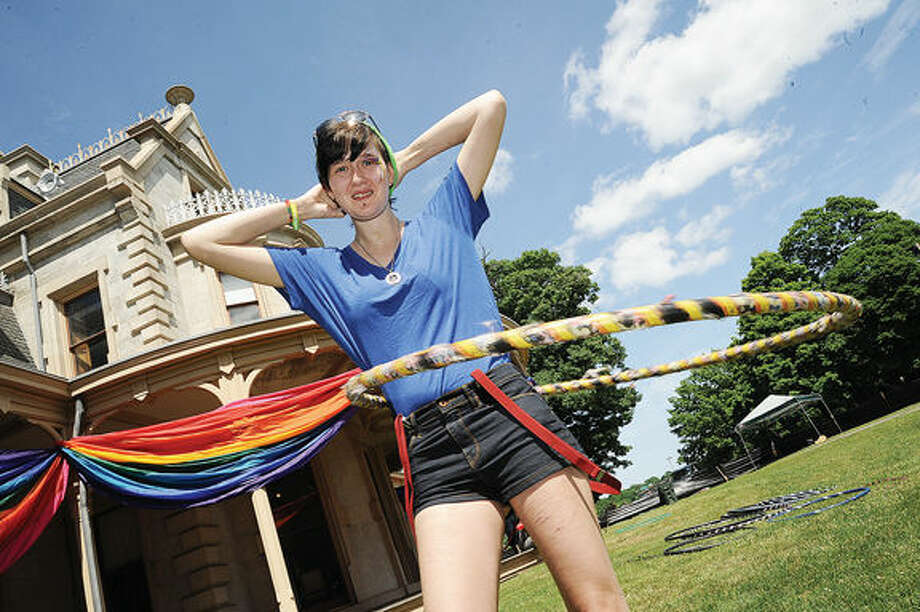 Skylar Swearsky gets down Saturday at the Fairfield County Pride in the Park 2015 held at Lockwood Mathews Mansion in Norwalk. Hour photo/Matthew Vinci