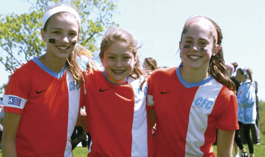 Contributed photoCFC Arsenal Sky defeated Beachside SC 3-2 in the Girls U-12 State Cup Semifinal game Sunday. Wilton players pictured here, from left, Isabella Koziol, Shelby Dejana and Sophie Sudano. Their team will compete in the State Cup Final in two weeks.