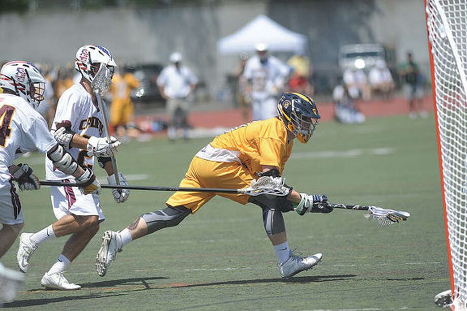 Austin Drimal Weston boys lacrosse Saturday. Hour photo/Matthew Vinci