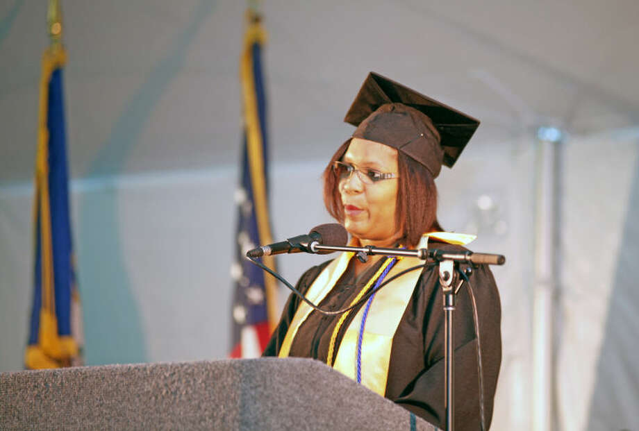 Cherdonna Epps speaks durng the 52nd Annual Commencement Excercise at Norwalk Community College Thursday afternoon. Hour Photo / Danielle Calloway