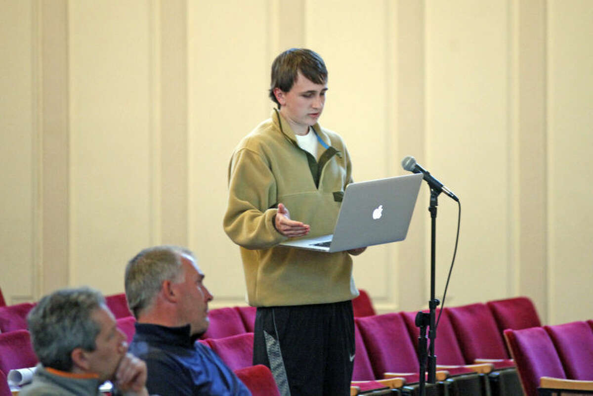 Ethan Rappaport speaks at a public hearing held by The Oak Hills Park Authority on the master plan for Oak Hills Park on Thursday evening at Norwalk Concert Hall. Hour Photo / Danielle Calloway