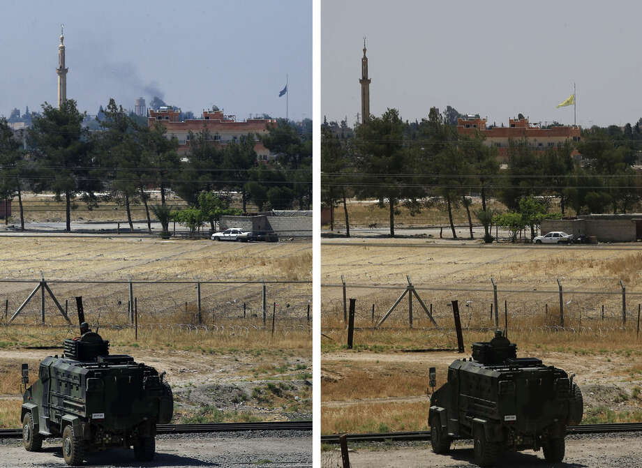 In this combo of two photos taken Tuesday, June 16, 2015 from the Turkish side of the border between Turkey and Syria, in Akcakale, southeastern Turkey, on the left photo a Turkish soldier on an armoured personnel carrier watches over the border the town of Tal Abyad, Syria, while a flag of the Islamic State group flies over the town, where on the right one taken two hours later, a flag of the Kurdish People's Protection Units, or YPG, is raised on its place. Kurdish fighters with the YPG along with their allies Free Syrian Army, took full control of Tal Abyad on Tuesday, dealing a major blow to the Islamic State group's ability to wage war in Syria. Mopping up operations have started to make the town safe for the return of residents, after more than a year of State group militants holding control of the town. (AP Photo/Lefteris Pitarakis)