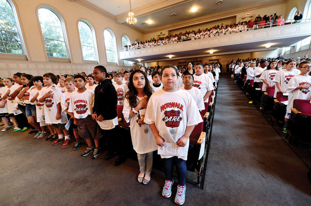 Hour photo / Erik Trautmann The Norwalk Police Department holds a DARE graduation for over a 1,000 Norwalk students Wednesday morning at City Hall.