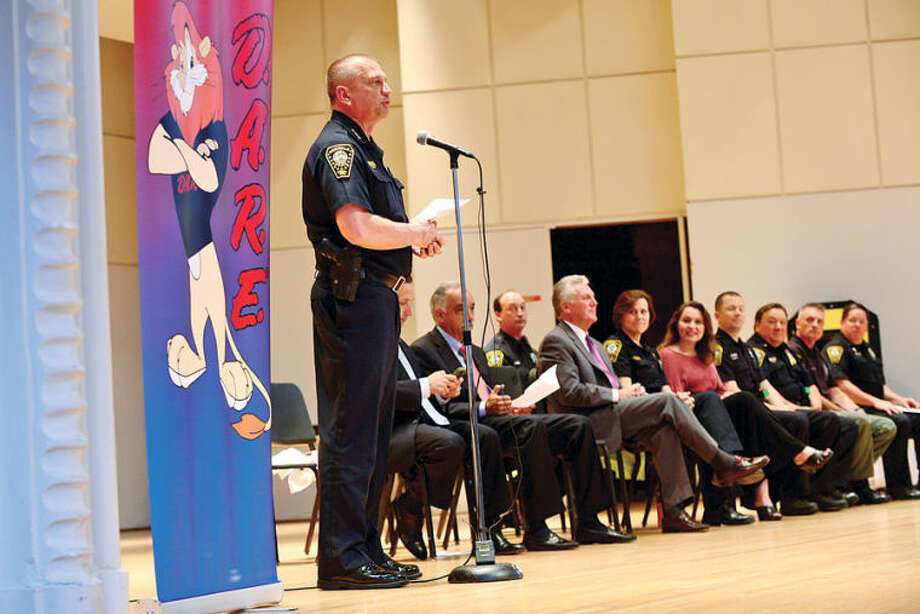 Hour photo / Erik Trautmann Chief Thomas Kuhalwik and the Norwalk Police Department hosts a DARE graduation for over a 1,000 Norwalk students Wednesday morning at City Hall.
