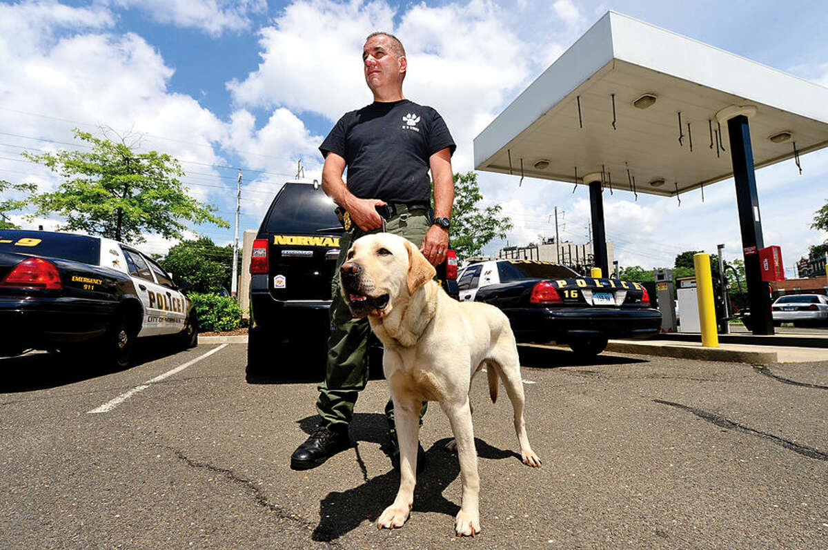 Hour photo / Erik Trautmann Norwalk police training seargent Frank Reda and his dog, Rocco, who is being trained to sniff out explosive materials.
