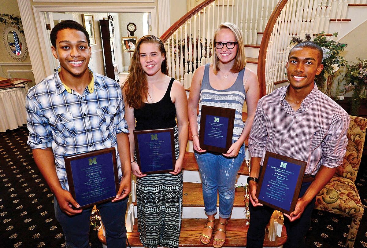 Brien McMahon High School held its annual Senior Athletes Awards Breakfast Tuesday morning at Chatham Manor. Among the seniors honored were (left-to-right) Timothy Hinton, the Male Career Athlete, Ryan Lajoie, Female Career Athlete, Mary Hussey, Female Scholar-Athlete, and Edwin Owolo, the Male Scholar-Athlete. (Hour photo/Erik Trautmann)