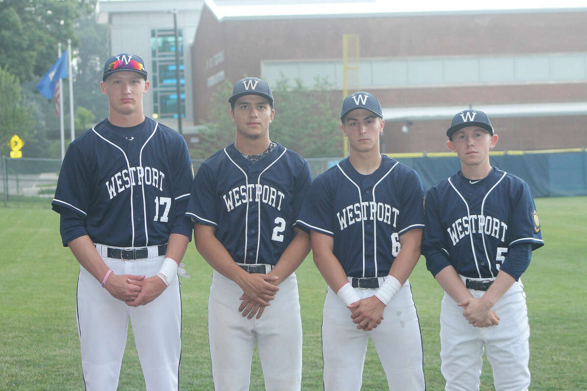 From left, Ryan Fitton, Marco Latella, Zack Azadian and Justin Gallanty will all play big roles this summer for the Westport American Legion team. (Hour photo/Matthew Vinci)