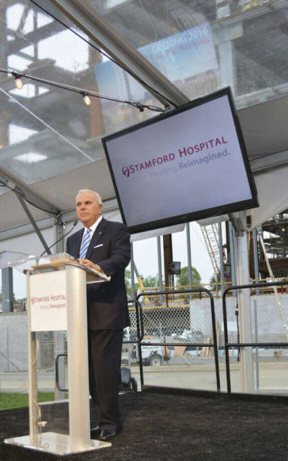 Contributed photoMichael Fedele, Chairman of the Board of Directors for Stamford Hospital, addresses attendees at the Hospital's Topping Off Ceremony earlier in the month.