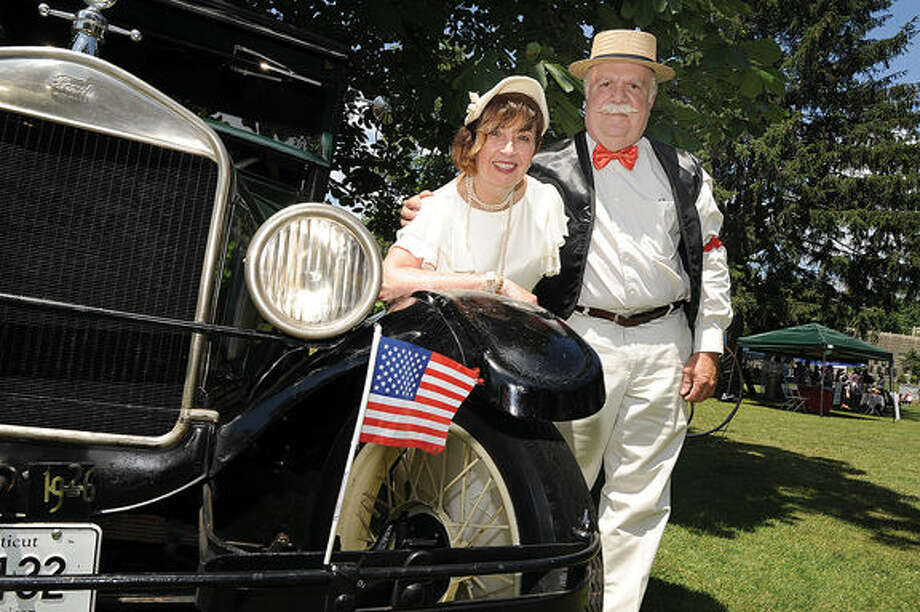Peggy and Don Morey with their 1926 Model T Sunday at the Ice Cream Social held at the park at Lockwood Mathews Mansion. Hour photo/Matthew Vinci