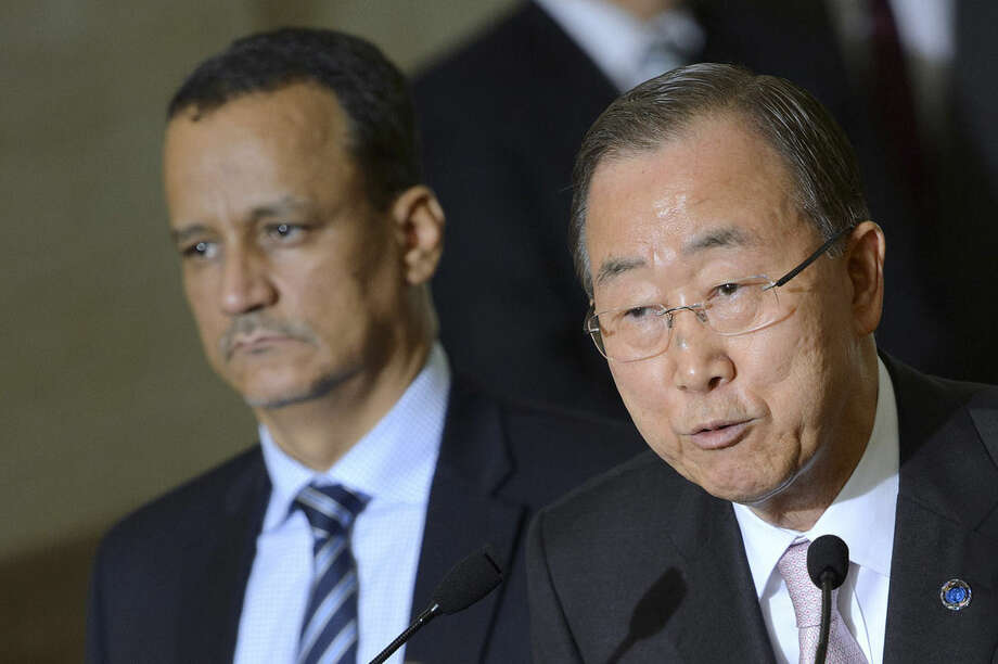 UN Secretary-General Ban Ki-moon, right, speaks next to The United Nations Special Envoy for Yemen Ismail Ould Cheikh Ahmed, left, on the first day of the Geneva Consultations on Yemen peace talks between Yemen's warring factions, at the European headquarters of the United Nations, UN, in Geneva, Switzerland, Monday, June 15, 2015. U.N. chief Ban Ki-moon pressed Monday for a halt to fighting in Yemen at the beginning of Ramadan, which starts later this week, as the world body launched talks aimed at brokering peace. (Martial Trezzini/Keystone via AP)