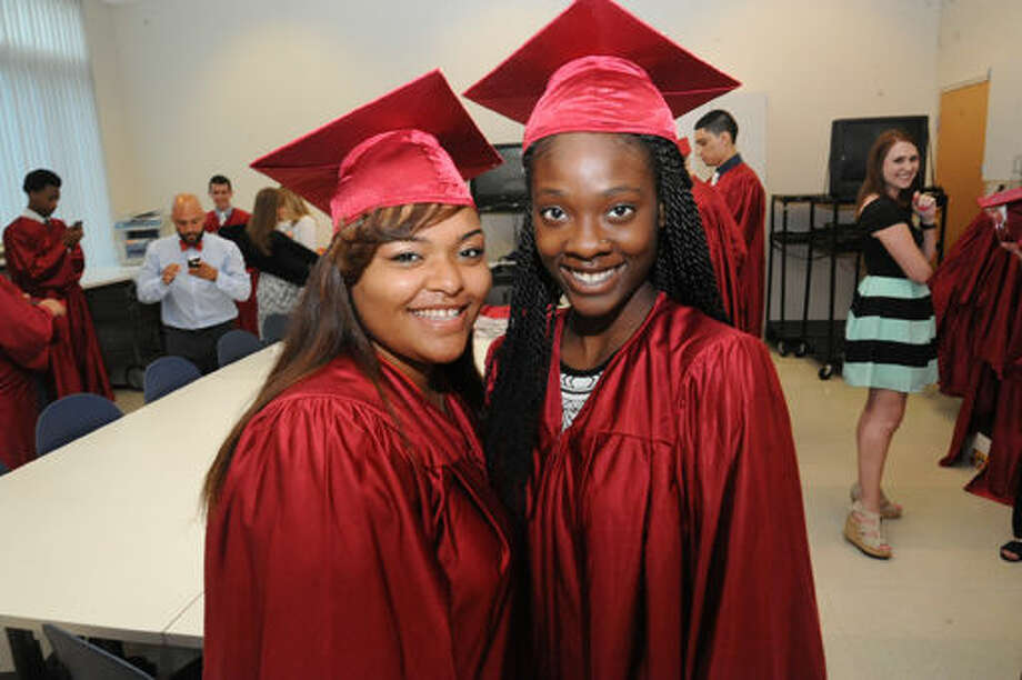 Taylor Patterson and Asya Spann at the Briggs High School graduation held at the Brien McMahon Center for Global Studies. Hour photo/Matthew Vinci