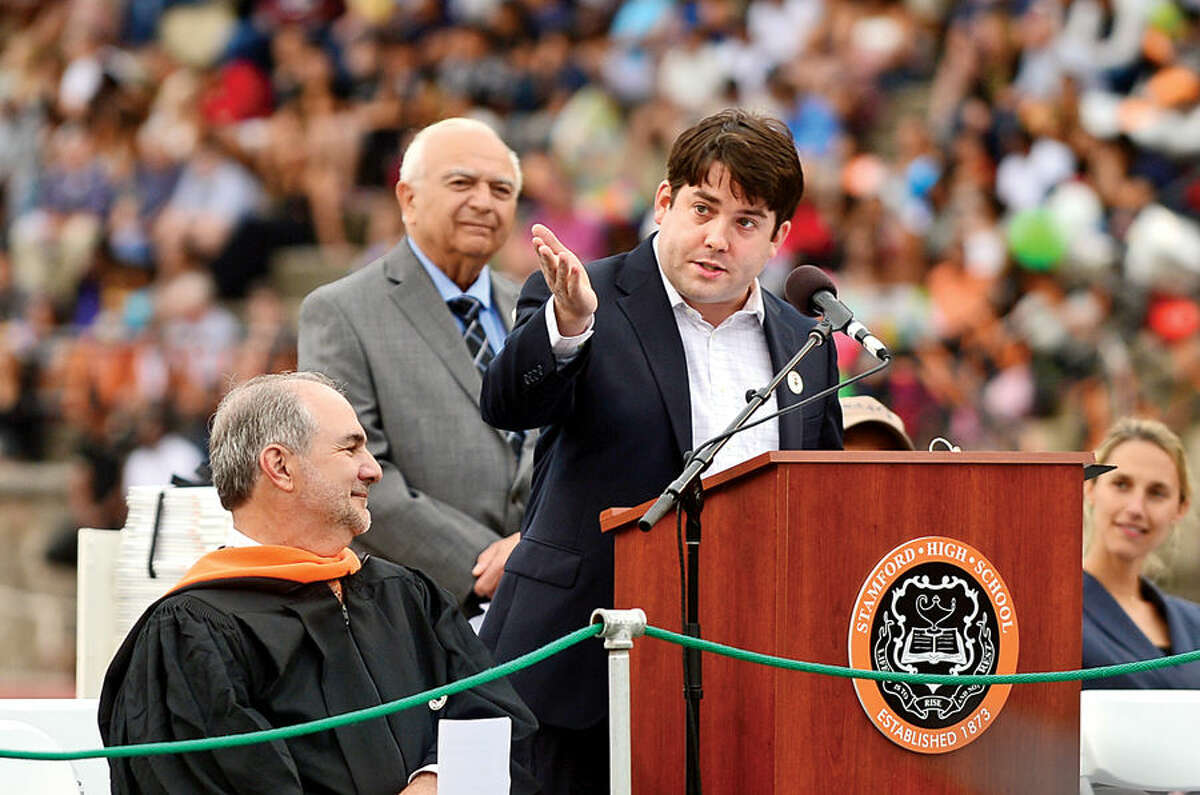 Hour photo / Erik Trautmann Tony award-winning actor Chris O'Neill was the keynote speaker during the Stamford High School commencement ceremonies for the Class of 2015 Thursday.