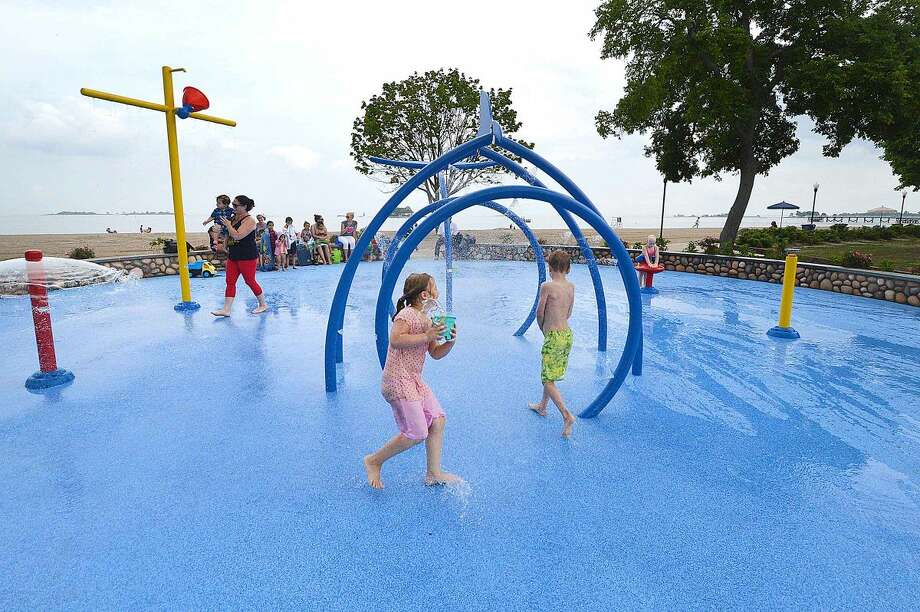 Hour Photo/Alex von Kleydorff Splash Pad now open at Calf Pasture Beach