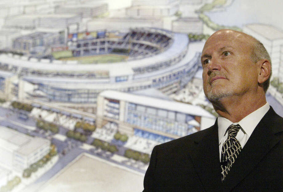 FILE - In this March 14, 2006 file photo, Joe Spear, the senior principle of architecture firm HOK Sport, attends a news conference in Washington where sketches for the new Washington Nationals' Baseball stadium were unveiled. (AP Photo/Haraz N. Ghanbari)