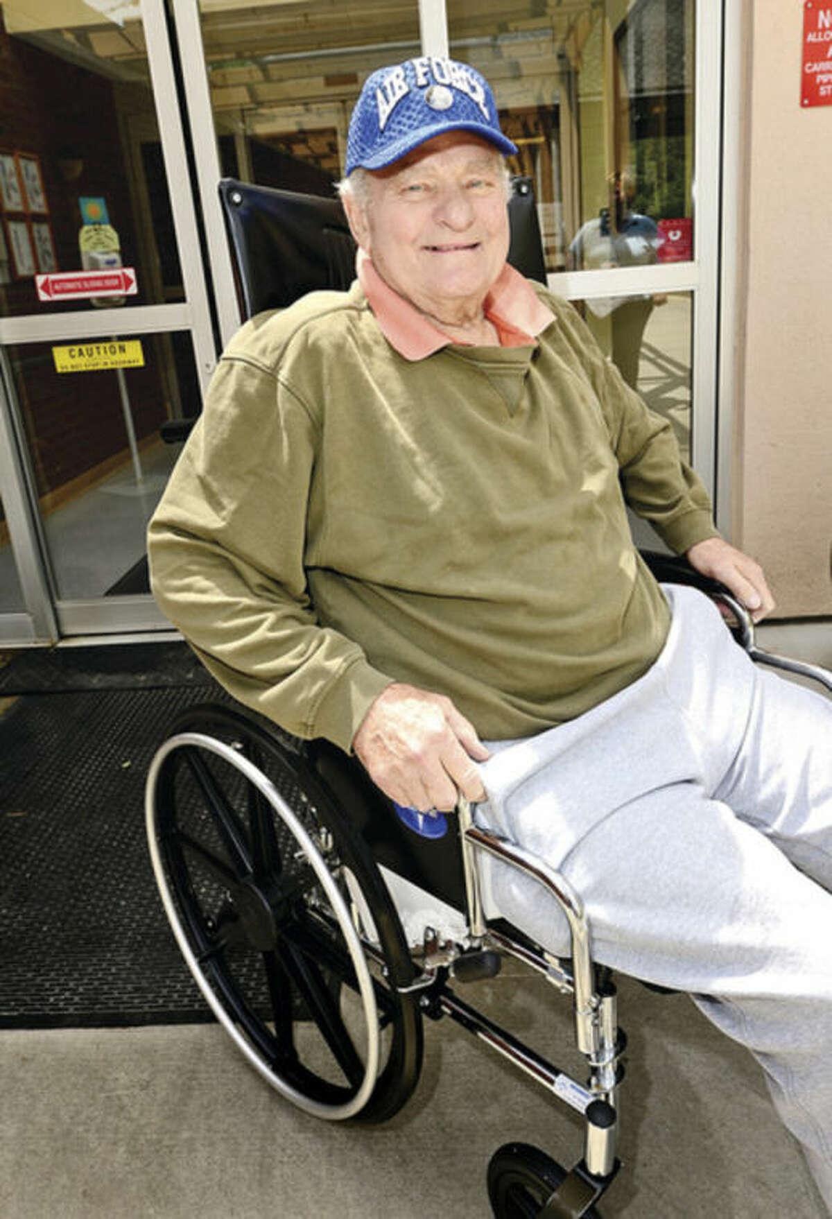 Hour photo / Erik Trautmann Veterans at Aurora Senior Living including John Ruhnke were honored Friday during a veteran's ceremony.