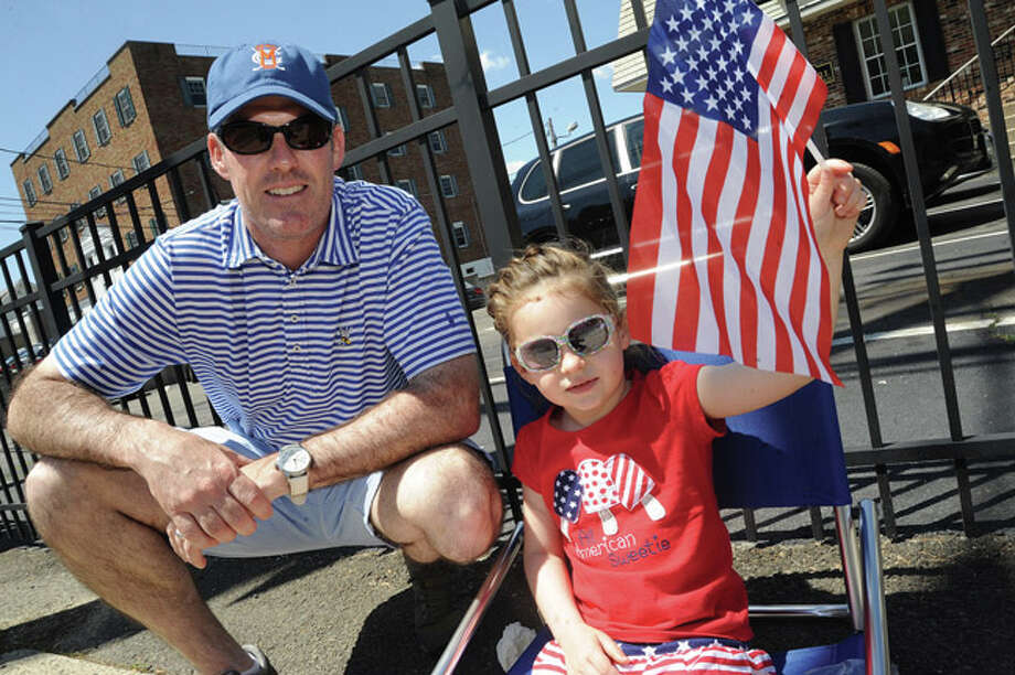 Ryan Garrity and his daughter Paige 4, Sunday at the Rowayton Memorial Day Parade. Hour photo/Matthew Vinci