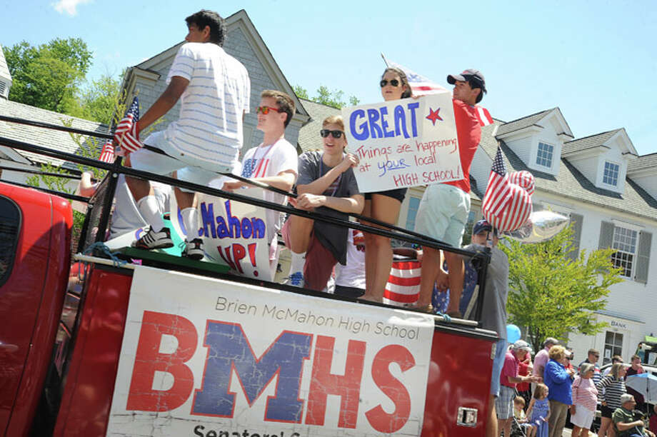 Members of Brien McMahon High School at the Rowayton Memorial Day Parade on Sunday. Hour photo/Matthew Vinci