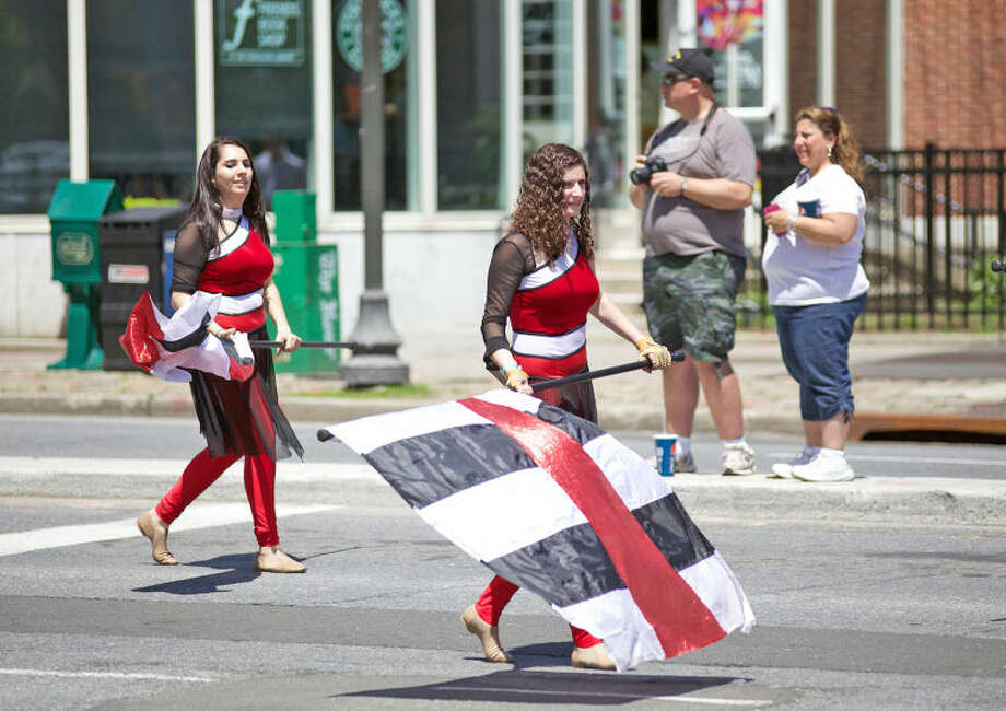 The Westhill High School color guard preforms in Stamford's annual Memorial Day Parade Saturday afternoon. Hour Photo / Danielle Calloway