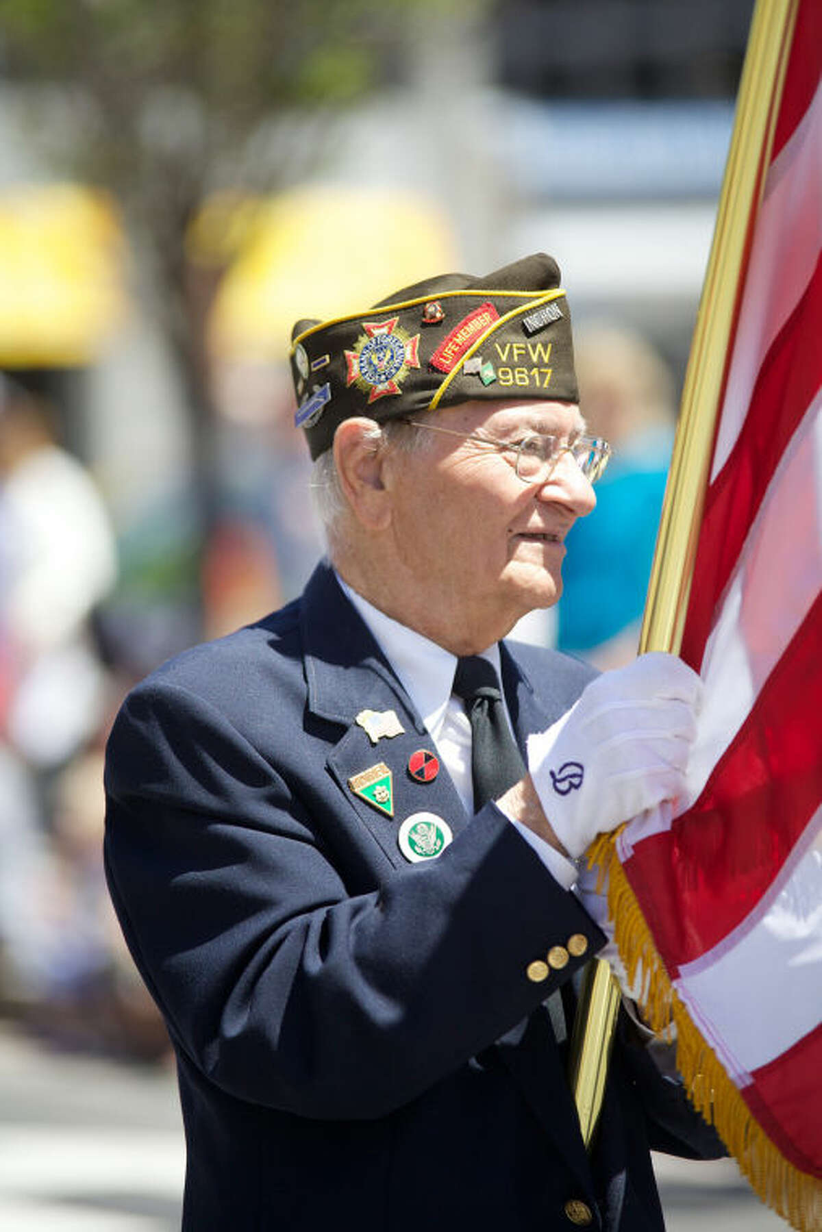 Korean War Veteran Marco Pensiero marches in Stamford's annual Memorial Day Parade Saturday afternoon. Hour Photo / Danielle Calloway