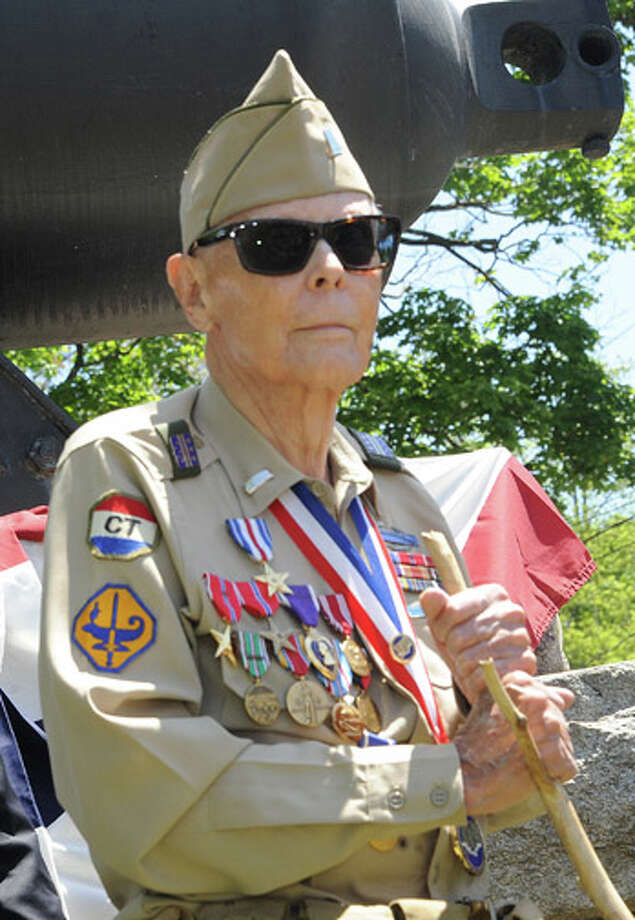 Doug Bora, World War II Veteran and Rowayton resident at the Rowayton Memorial Day Parade on Sunday. Hour photo/Matthew Vinci