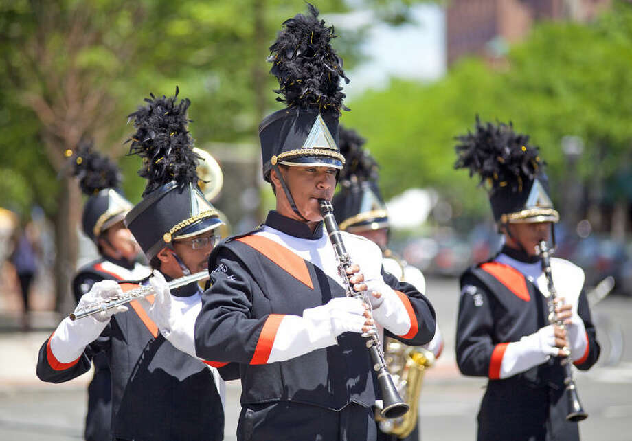 The Stamford High School marching band plays in Stamford's annual Memorial Day Parade Saturday afternoon. Hour Photo / Danielle Calloway