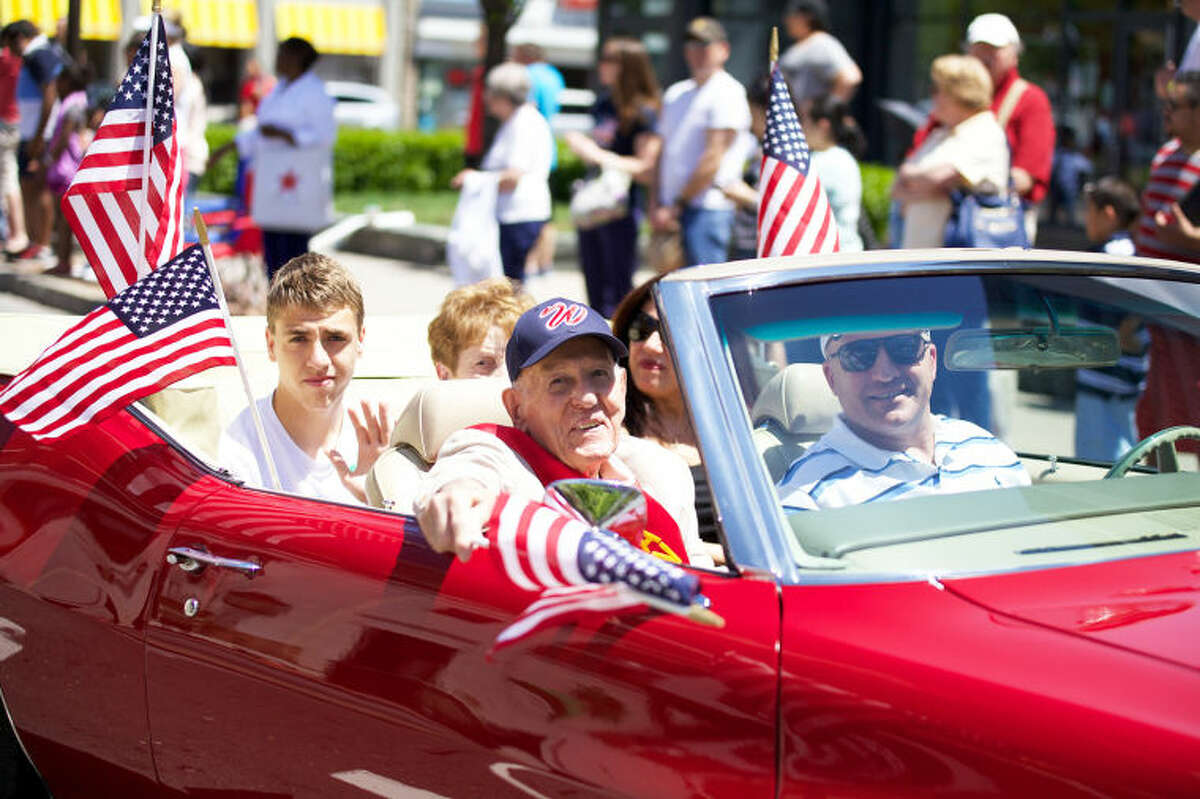 Grand Marshal & Veteran Gabe DeLuca rides in Stamford's annual Memorial Day Parade Saturday afternoon. Hour Photo / Danielle Calloway