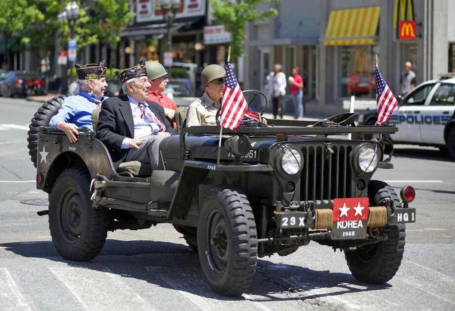 Veterans ride in Stamford's annual Memorial Day Parade Saturday afternoon. Hour Photo / Danielle Calloway