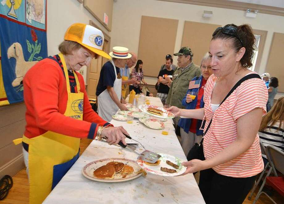 Hour Photo/Alex von Kleydorff Wilton Kiwanis Pancake Breakfast at The Congragtional Church on Memorial day