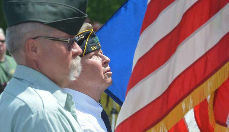 Hour Photo/Alex von Kleydorff Post 86 American legion Color Guard at Hillside Cemetery for Memorial Day in Wilton