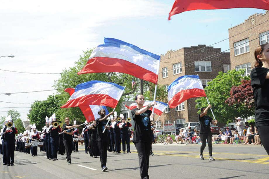 The Brien McMahon Senators march in the Memorial Day Parade Monday in Norwalk. Hour photo Matthew Vinci