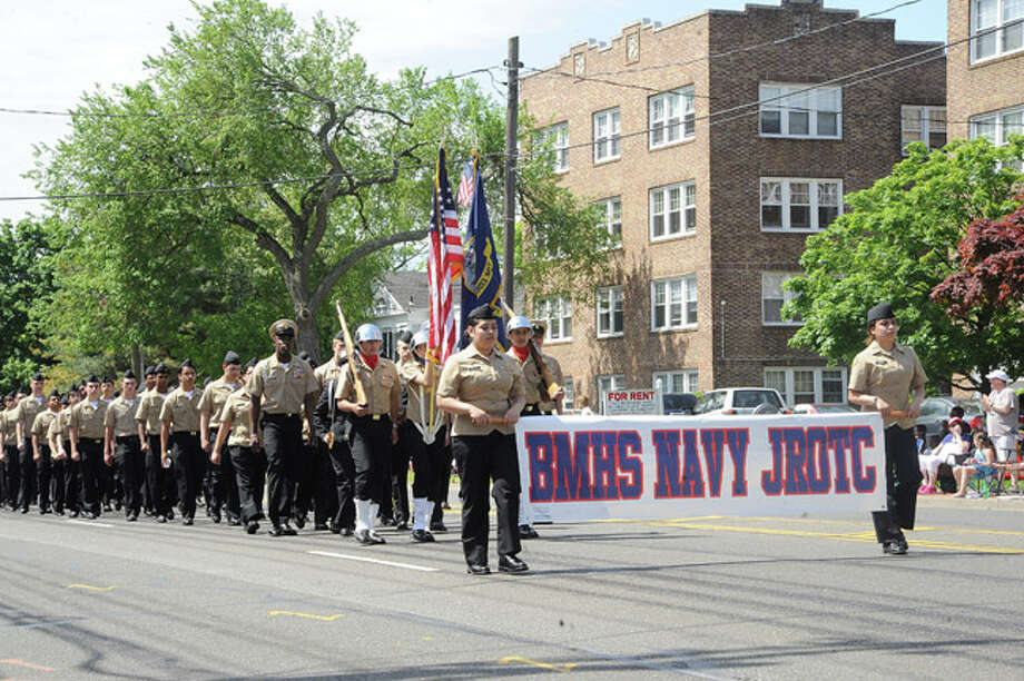 The Brien McMahon Navy Jr ROTC at the Memorial Day Parade Monday in Norwalk. Hour photo Matthew Vinci