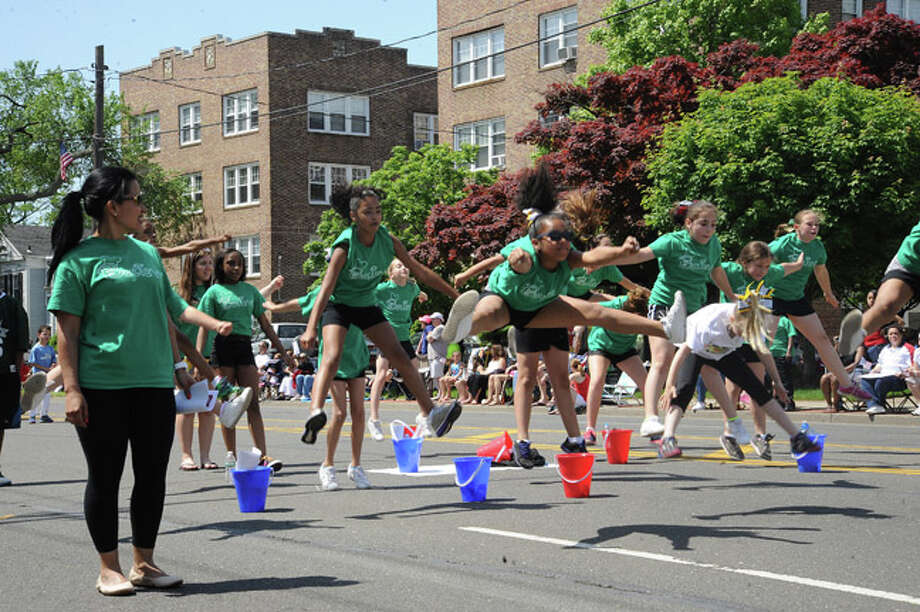 Norwalk football and cheer at the Norwalk Memorial Day Parade. Hour photo/Matthew Vinci