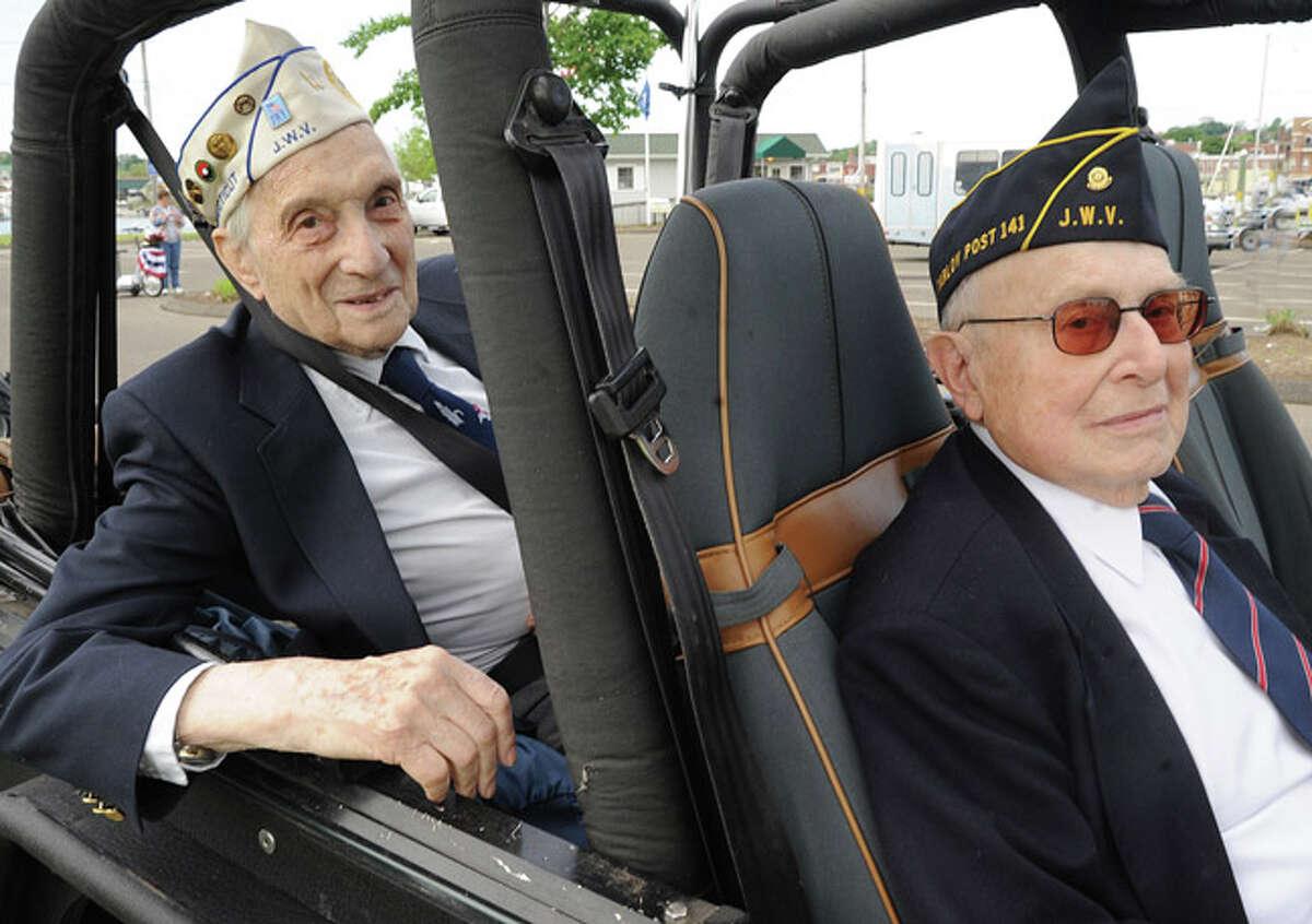 George Cooper World War II veteran and Harry Morgenthaler Korean War veteran at the Memorial Day Parade in Norwalk on Monday. Hour photo/Matthew Vinci